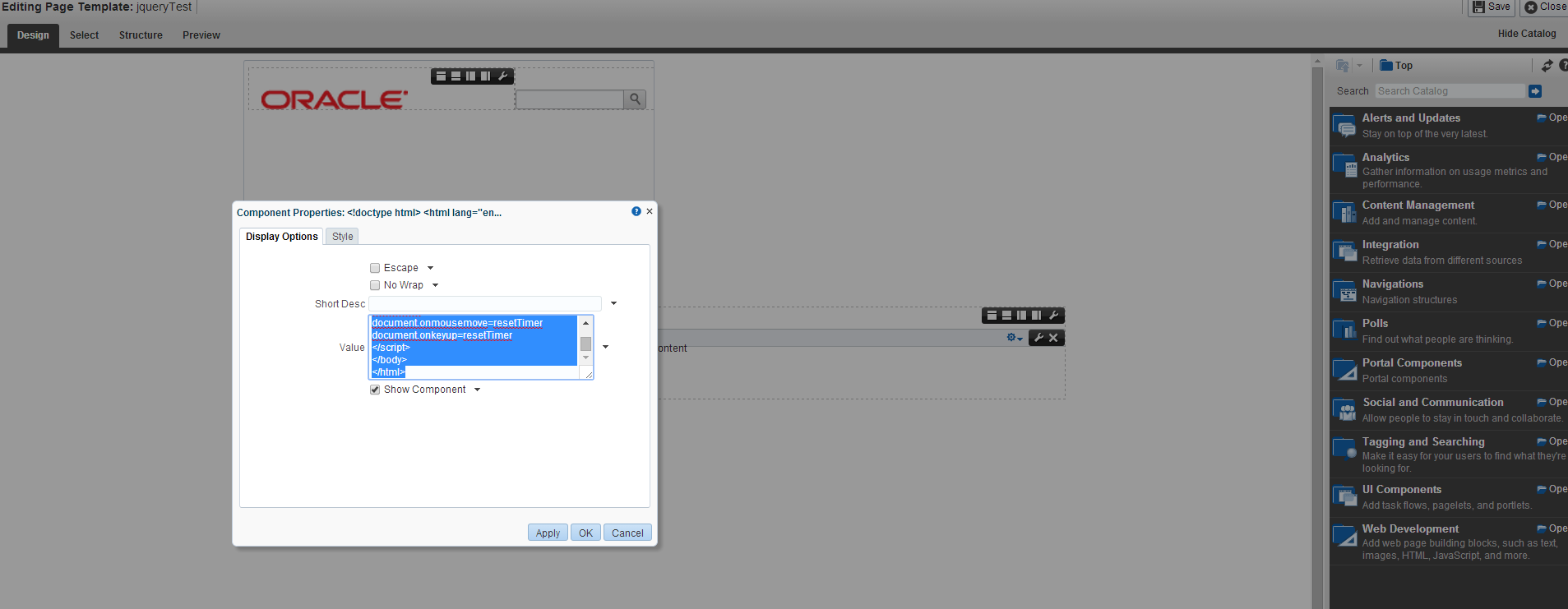 Custom session timeout warning popup in webcenter portal - Jquery refresh div ...